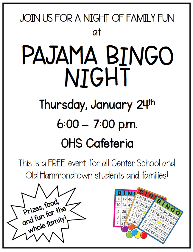 EVENT Reminder: Don't miss our upcoming Pajama Bingo Night on Thursday, Jan. 24th, 2019! Details...